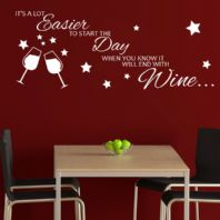 It's a Lot Easier to Start the Day When You Know it Will End With Wine ~ Wall sticker / decals